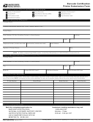 "PS Form 5114 ""Barcode Certification Printer Submission Form"""