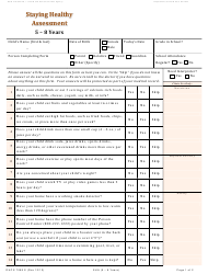 Form DHCS 7098E Staying Healthy Assessment: 5-8 Years - California