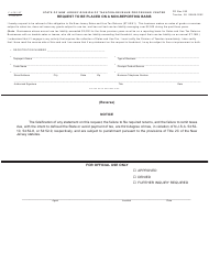 Form C-6205-ST Request to Be Placed on a Non-reporting Basis - New Jersey