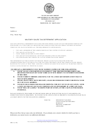 "Form MD-1 ""Military Sales Tax Deferment Application"" - New Jersey"