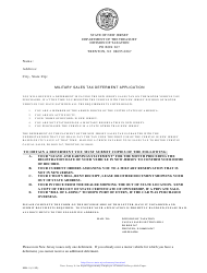 Form MD-1 Military Sales Tax Deferment Application - New Jersey