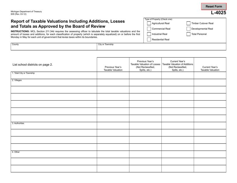Form 609 (L-4025)  Printable Pdf