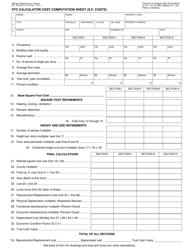 Form 621 Stc Calculator Cost Computation Sheet (S.f. Costs) - Michigan