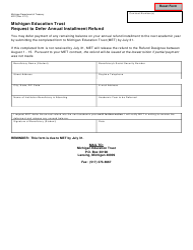 Form 4221 Michigan Education Trust Request to Defer Annual Installment Refund - Michigan