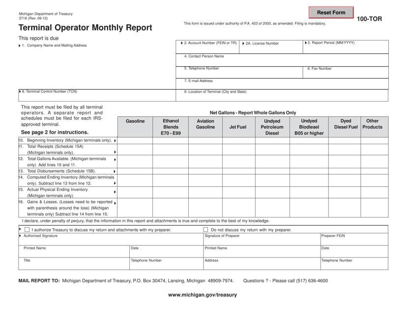 Form 3716 (100-TOR)  Printable Pdf