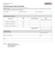 Form 3725 County Treasurer Fees Transmittal - Michigan