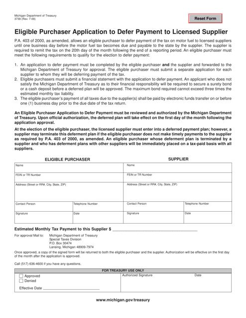 Form 3739  Printable Pdf