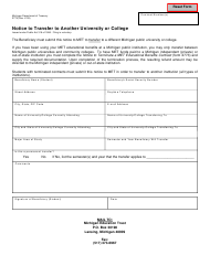 Form 2779 Notice to Transfer to Another University or College - Michigan
