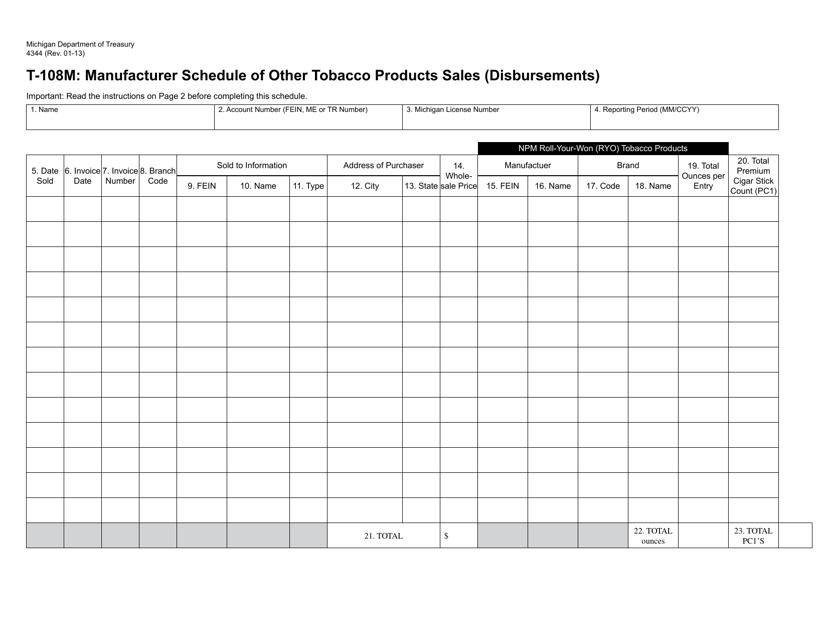 Form 4344 Schedule T-108M Printable Pdf