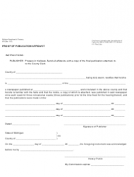 Form 272 Proof of Publication Affidavit - Michigan