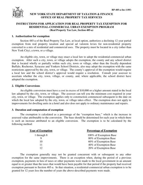 Form RP-485-A  Printable Pdf