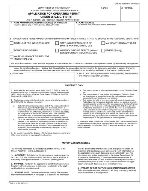 Form TTB F 5110.25 Fillable Pdf