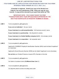 "Instructions for TTB Form 5300.28 ""Application for Registration for Tax-Free Transactions Under 26 U.s.c. 4221"""