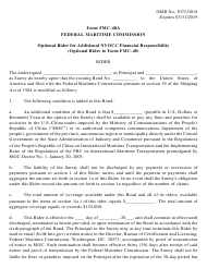 """Form FMC-48A """"Optional Rider for Additional Nvocc Financial Responsibility (Optional Rider to Form Fmc-48)"""""""