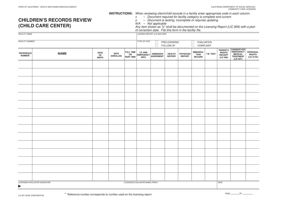 Form LIC857  Printable Pdf