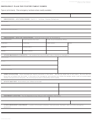 Form LIC 610B Emergency Plan For Foster Family Homes - California