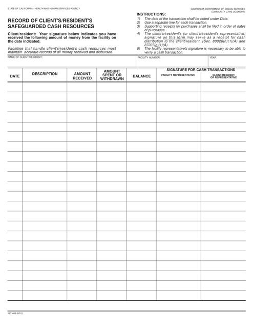 Form LIC405  Printable Pdf