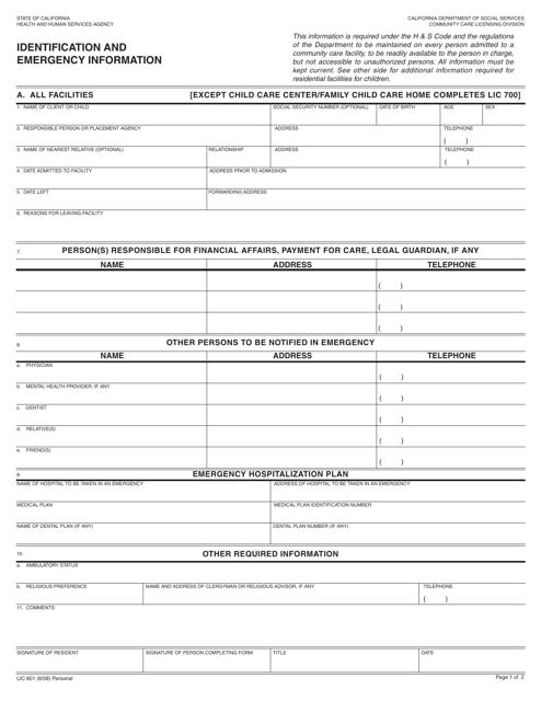Form LIC601  Printable Pdf