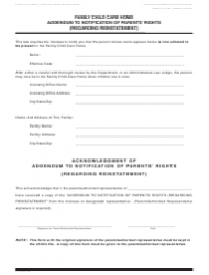 Form LIC 996c Family Child Care Home Addendum to Notification of Parents' Rights (Regarding Reinstatement) - California