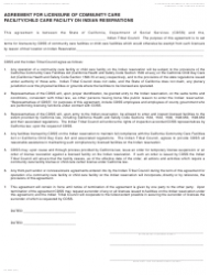 Form LIC 996A Agreement For Licensure Of Community Care Facility/child Care Facility On Indian Reservations - California