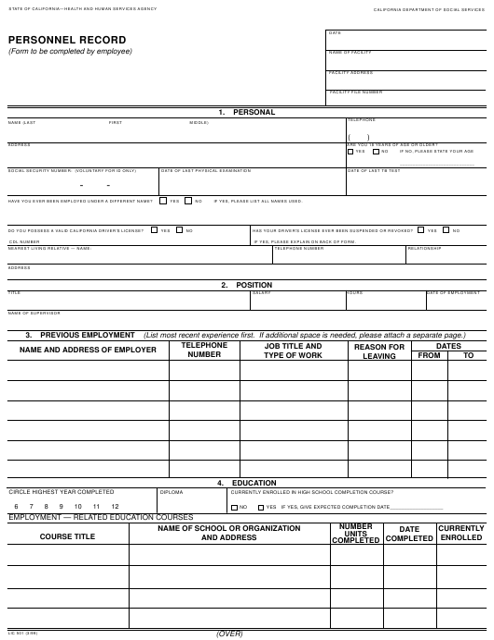 Form LIC 501 Fillable Pdf