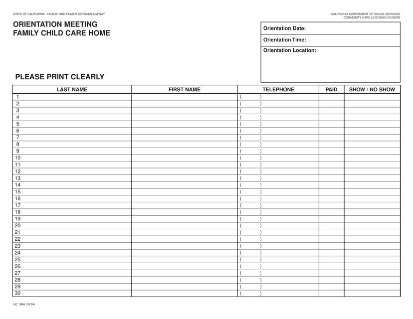 Form LIC 186A Fillable Pdf