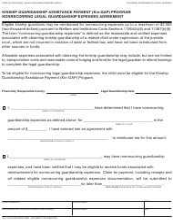 Form KG 4 Kinship Guardianship Assistance Payment (Kin-Gap) Program Nonrecurring Legal Guardianship Expenses Agreement - California