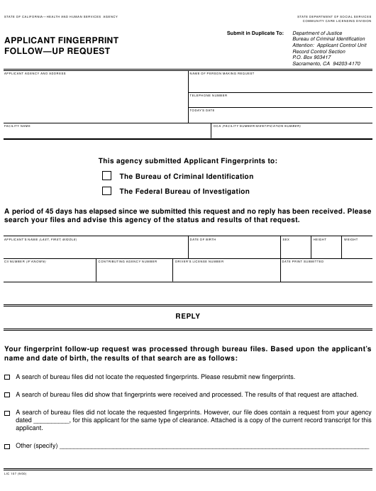 Form LIC 107 Download Fillable PDF, Applicant Fingerprint