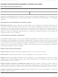 Form LIC 9108 Statement Acknowledging Requirement to Report Child Abuse - California