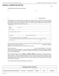 Form LIC 201F Annual License Fee Notice - California