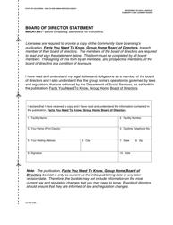 Form LIC 9165 Board Of Director Statement - California