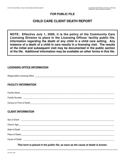 Form LIC 9187 Printable Pdf