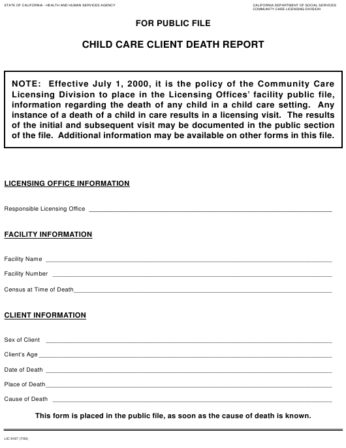 Form LIC 9187 Fillable Pdf