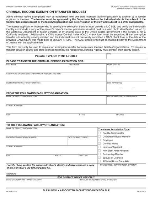 Form LIC9188  Printable Pdf