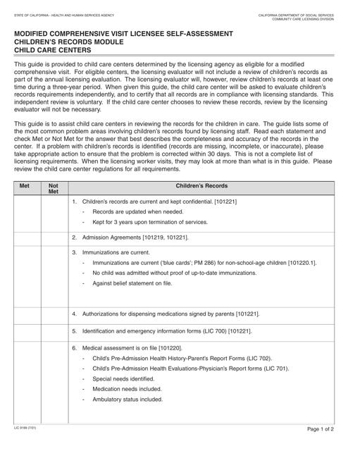 Form LIC 9199 Download Fillable PDF, Modified Comprehensive