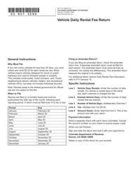 Form DR 1777 Vehicle Daily Rental Fee Return - Colorado