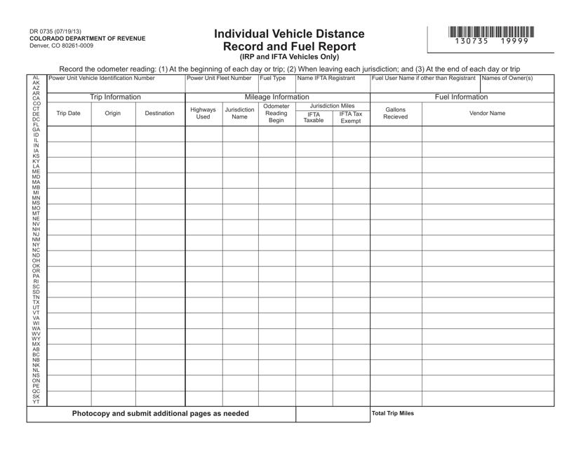 Form DR0735  Printable Pdf