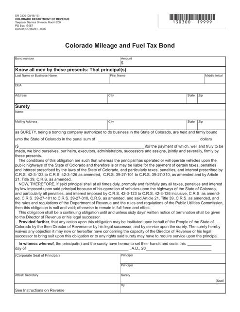 Form DR0300  Printable Pdf
