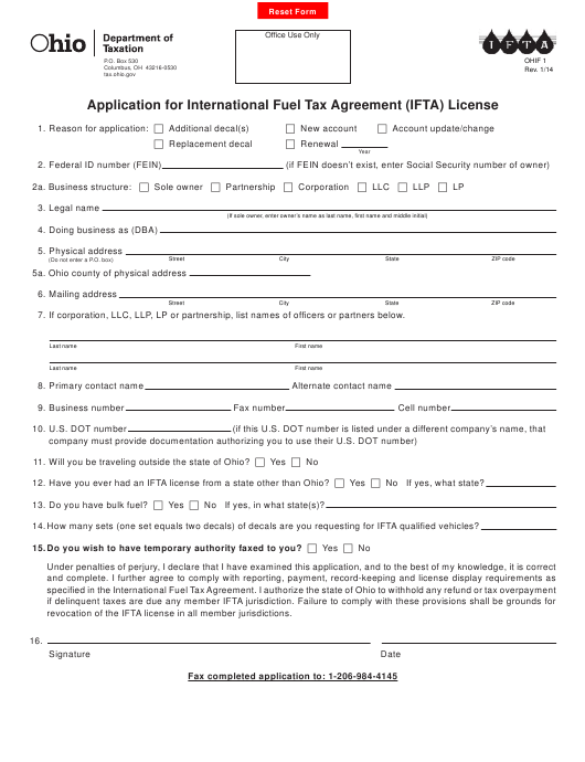 Form OHIF 1 Fillable Pdf