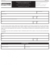 Form R-1009 Shipbuilders of Vessels Over 50 Tons Load Displacement - Sales Tax Exemption Certificate - Louisiana