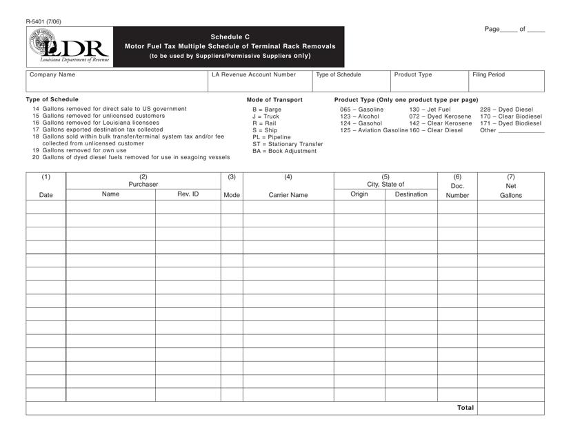 Form R-5401 Schedule C  Printable Pdf