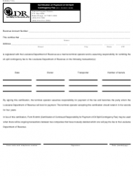 Form R-9008 Certification of Payment of Oil Spill Contingency Fee - Louisiana