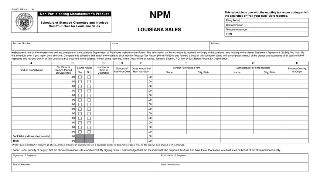 Form R-5602 NPM Fillable Pdf