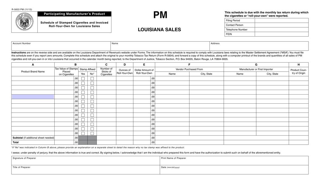 Form R-5603 PM  Printable Pdf