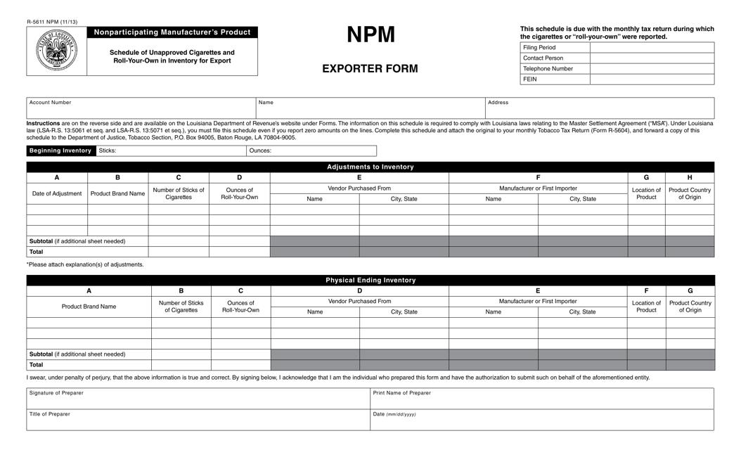 Form R-5611 NPM Printable Pdf