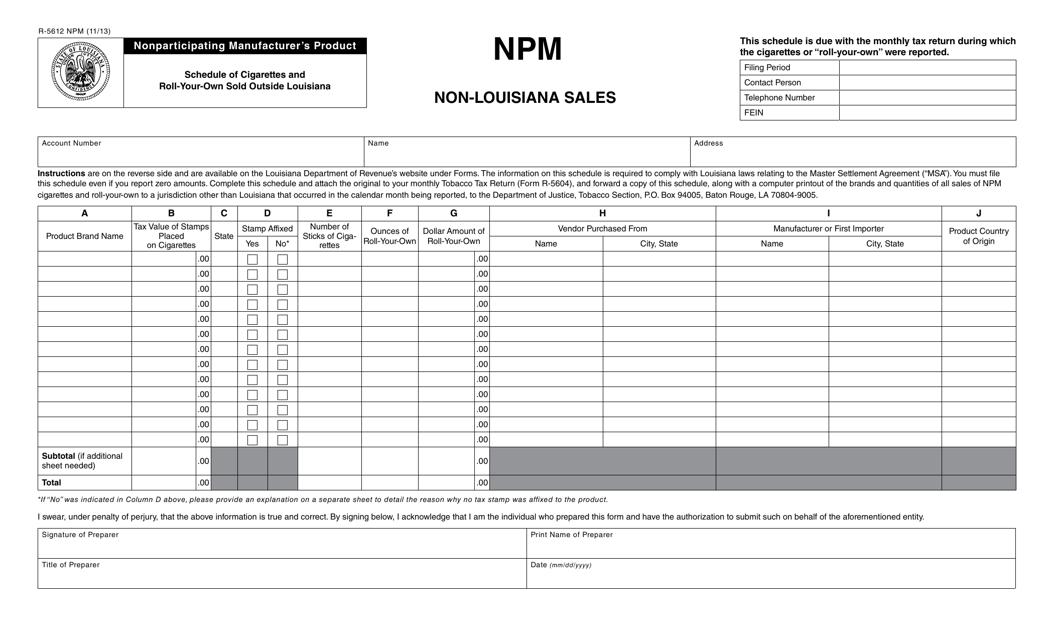 Form R-5612 NPM  Printable Pdf