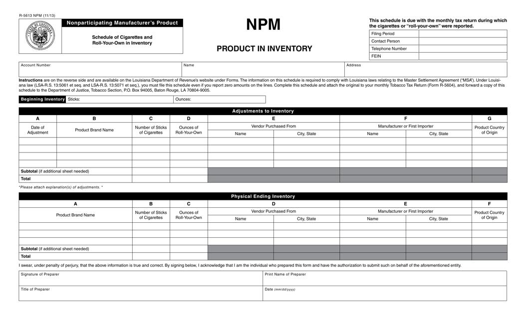 Form R-5613 NPM  Printable Pdf