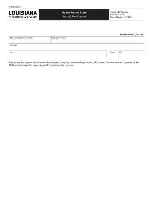 Form R-6160 Printable Pdf