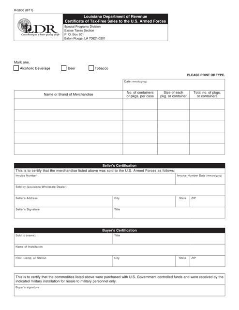 Form R-5606  Printable Pdf