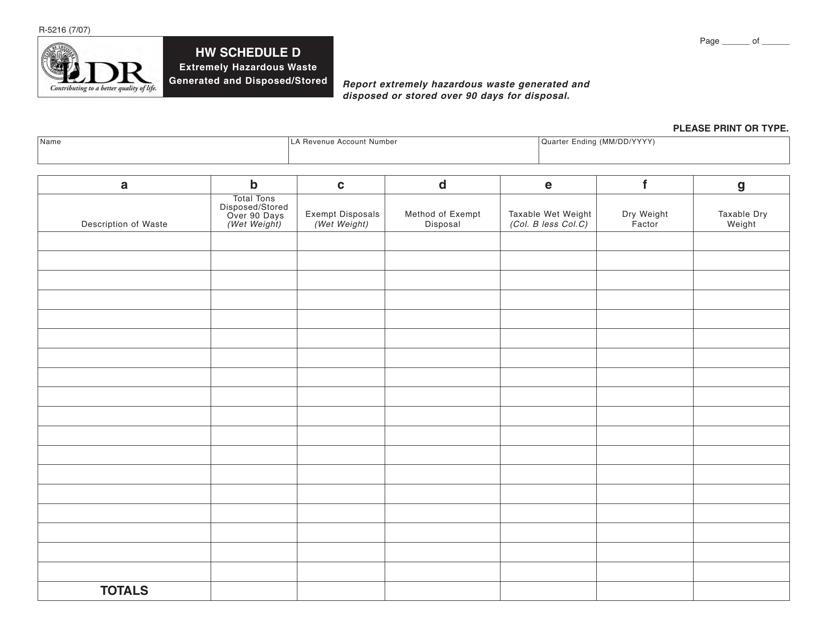 Form R-5216 Schedule D  Printable Pdf